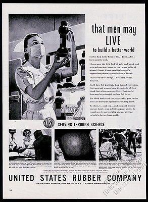 1944 US Army nurse art U.S. Rubber vintage print ad.