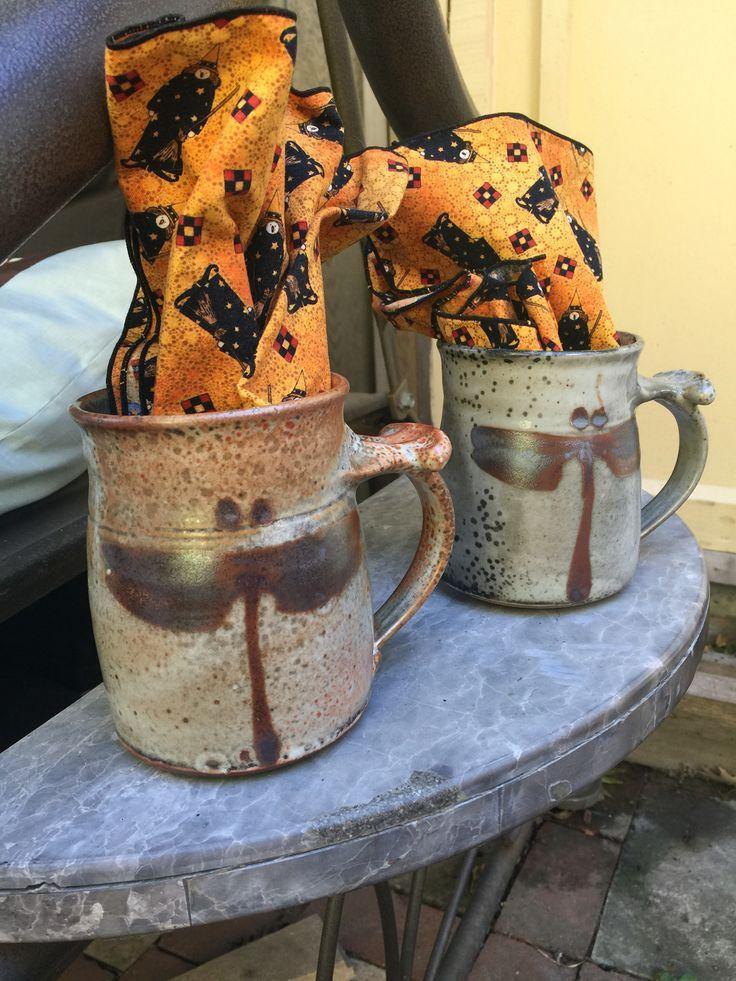 http://richardfisherpottery.com/ White Shino Copper Dragonfly Coffee Mugs