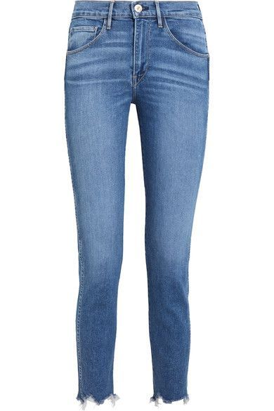 3x1 - W3 Cropped Frayed High-rise Straight-leg Jeans - Blue