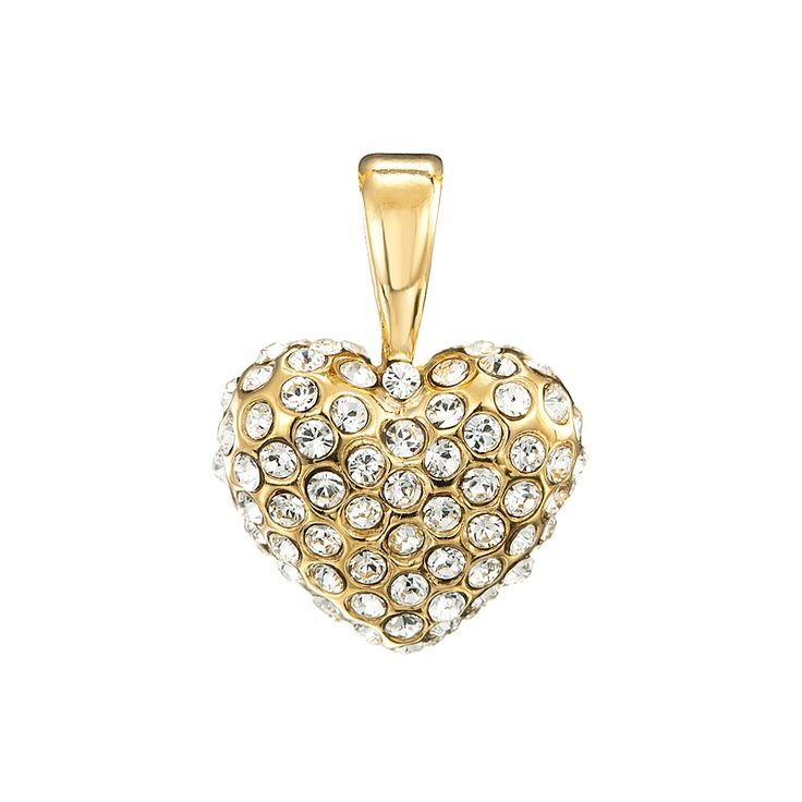 18ct Yellow Gold Layered Rounded Heart Shape with Fine Clear SC Pendant | Allure Gold