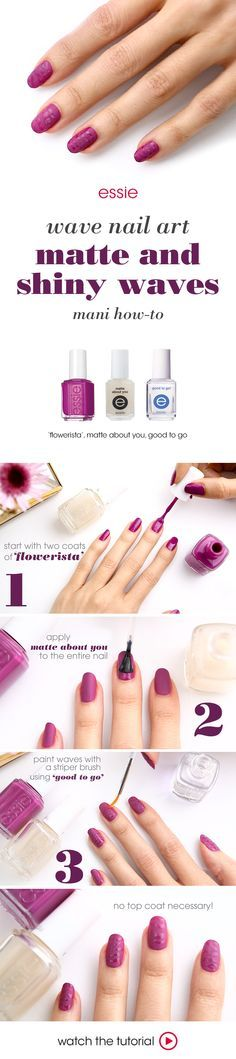 Give a classic matte fuchsia base a bit of a wild side with glossy animal-print striped nail art.