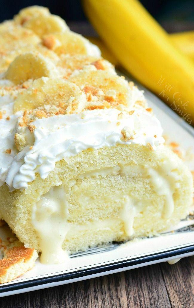 Banana Pudding Cake Roll | from willcookforsmiles.com