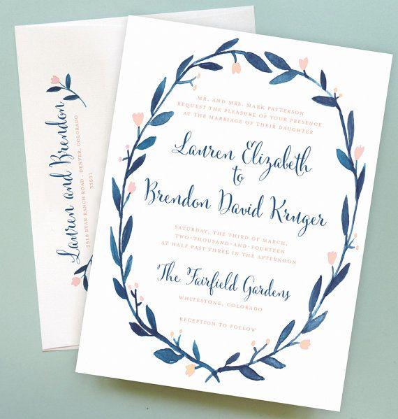 Wreath Wedding Invitation with Watercolor Floral Wreath Border
