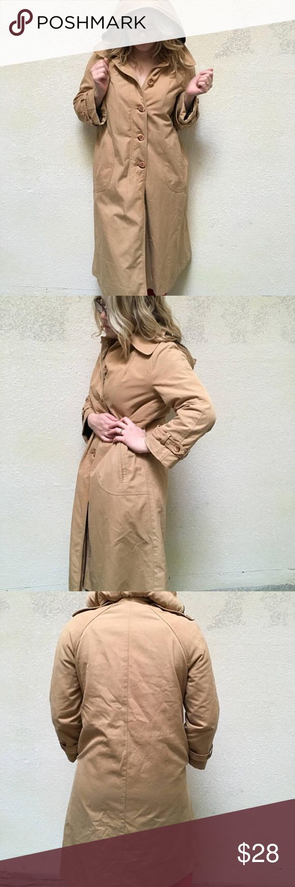 "Vintage lined tan trench coat. This fabulous tan trench was made by the brand Forecaster of Boston in the 1970's. It features fake fur plushy lining, a removeable hood, and lots of cozy 1970's goodness. It is a size 9/10-though check the measurements given below to ensure a proper fit. It is in good condition, besides one button which had to be replaced by a very similar looking button. Is not an obvious flaw. It has been gently laundered. Measurements 40"" bust 43"" long Vintage Jackets…"