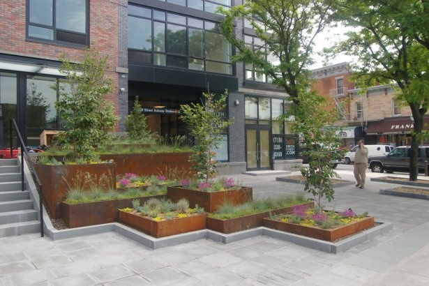 Stacked Corten Planter Boxes In Carroll Street Mta Plaza