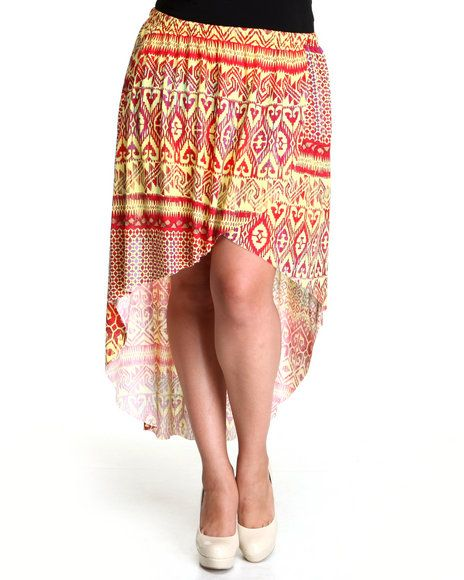 San Beach Tulip Maxi Skirt (plus) by Fashion Lab Color: Red, Yellow