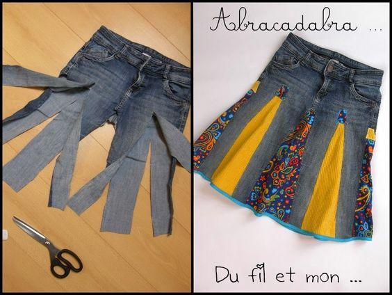 Upcycle denim jeans (or skirt) into a panelled skirt. Du fil et mon...recycler un vieux jean en jupe:
