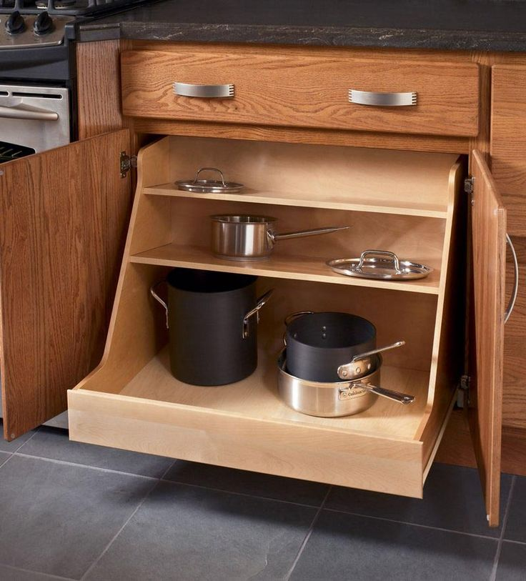 Storage solutions details base pots and pans organizer - Kraftmaid kitchen cabinets ...