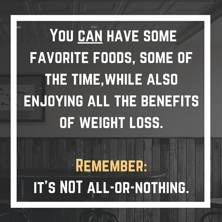 Think Thin Thursday Tip: In dieting, like in many things in life, it's rarely all-or-nothing. It's not as if you either can eat as much as you want, whenever you want or you can't eat any food you enjoy. There is a huge middle ground! You can definitely have some favorite foods, some of the time while also enjoying all the benefits of weight loss.  Remember: it's NOT all-or-nothing.
