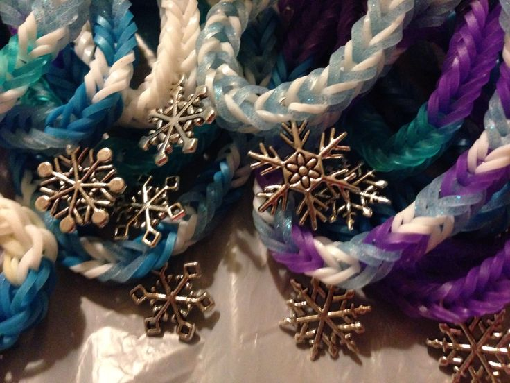 Loom band bracelets with snowflake charms - to be given as party favours