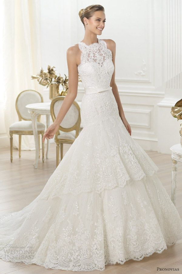 pronovias 2014 costura lenix sleeveless scalloped neckline wedding dress