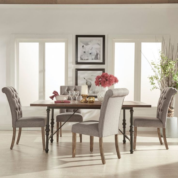 Homelegance 5 Piece Industrial Dining Set With Gray Tufted Chairs    5099 72(MTL