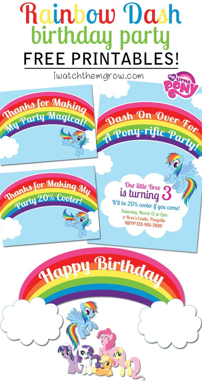 FREE PRINTABLES for a My Little Pony Rainbow Dash birthday party! Invitation, thank you cards/ favor tags and cake toppers or party signs!