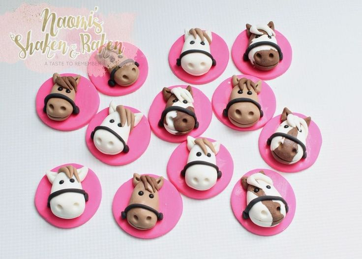 12x Edible, Farm Animals Horse Birthday Cake Cupcake Toppers  #Birthday