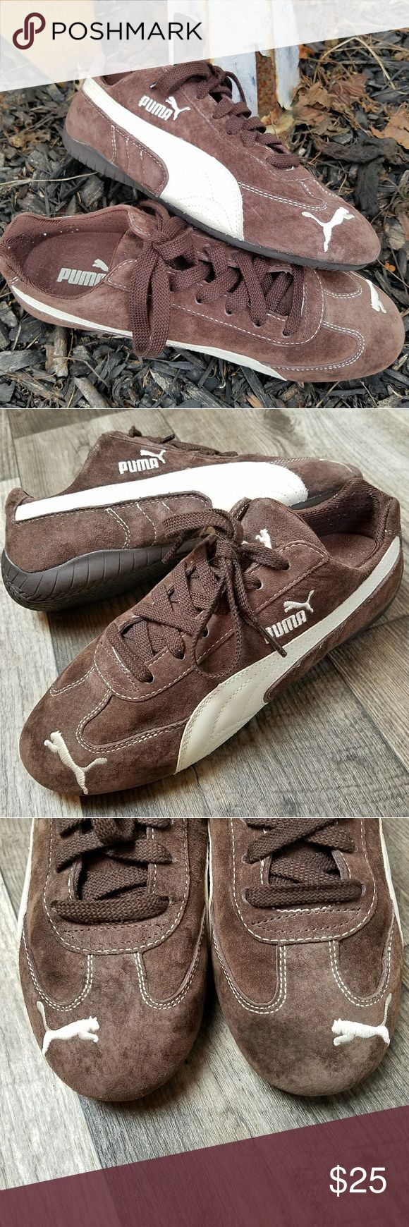 Puma • Speed Cat Suede Sneakers Chocolate brown suede pumas with white details.   Excellent gently preloved condition with no rips, stains or odors. No real signs of wear except some sock fuzzies inside!   No holds, trades or off-posh transactions. Puma Shoes Sneakers