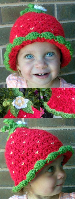 Kit's Crafts - Strawberry Hat #FreeCrochetPattern
