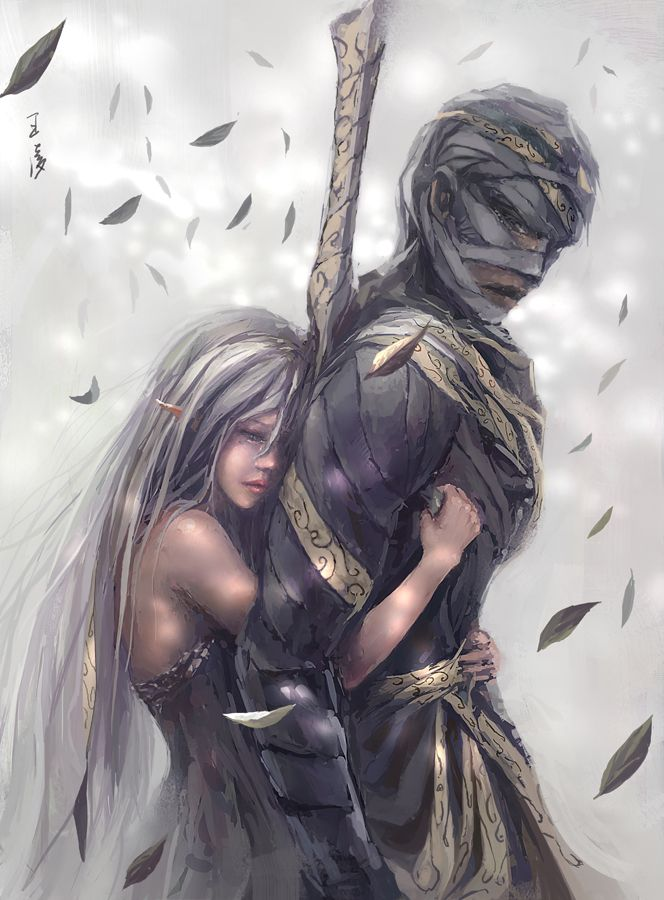 Don't go- drawn by unknown artist. Reminds me of Kairi and Riku.