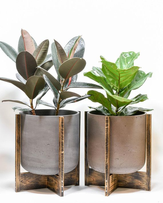 X Large Concrete Planter With Stand Mid Century Modern Plant Mid Century Modern Plant Stand Modern Plant Stand Concrete Planters