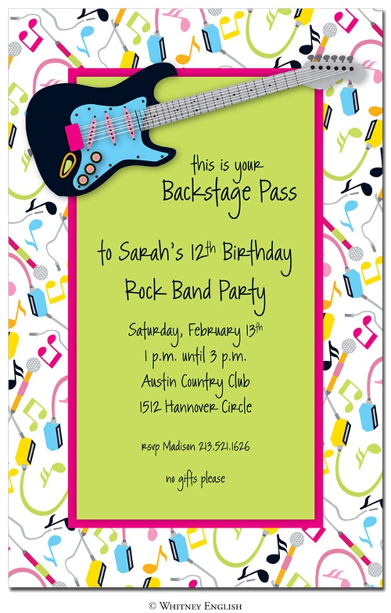 23 best images about Party Rock Star – Rock and Roll Party Invitations