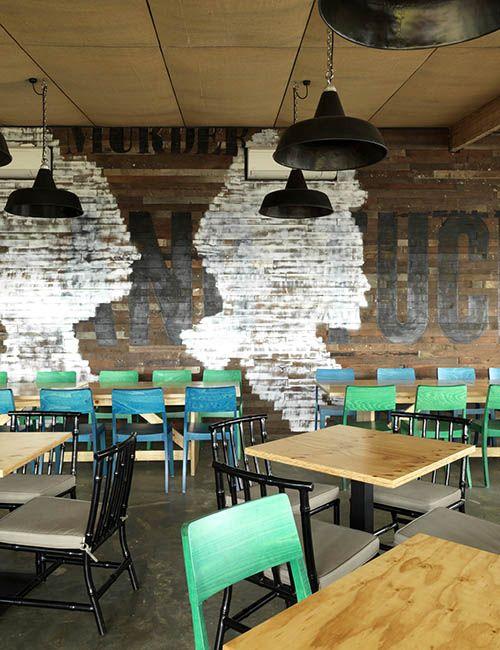 BIB' N TUCKER | alwill  #interiors #wood #featurewall #cafe #restaurant #pendant #light
