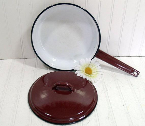 Retro Black on Brown on White EnamelWare Pan With Lid - Vintage Kitchen Fry Pan - Mid Century Modern $19.00 by DivineOrders