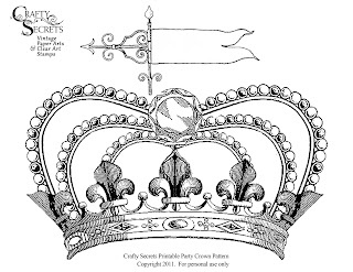 Free Printable Vintage Crown from Crafty Secrets Vintage Paper Crafts and Stamping Ideas Blog