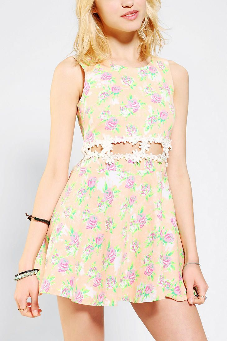 Reverse Open-Waist Floral Skater Dress