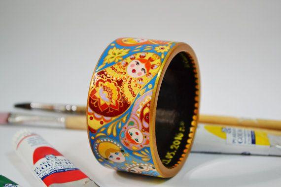 Hand painted Wooden Bracelet Matryoshka Bracelet Russian style