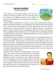 Fifth Grade Reading Comprehension Worksheet – Harvest Festival