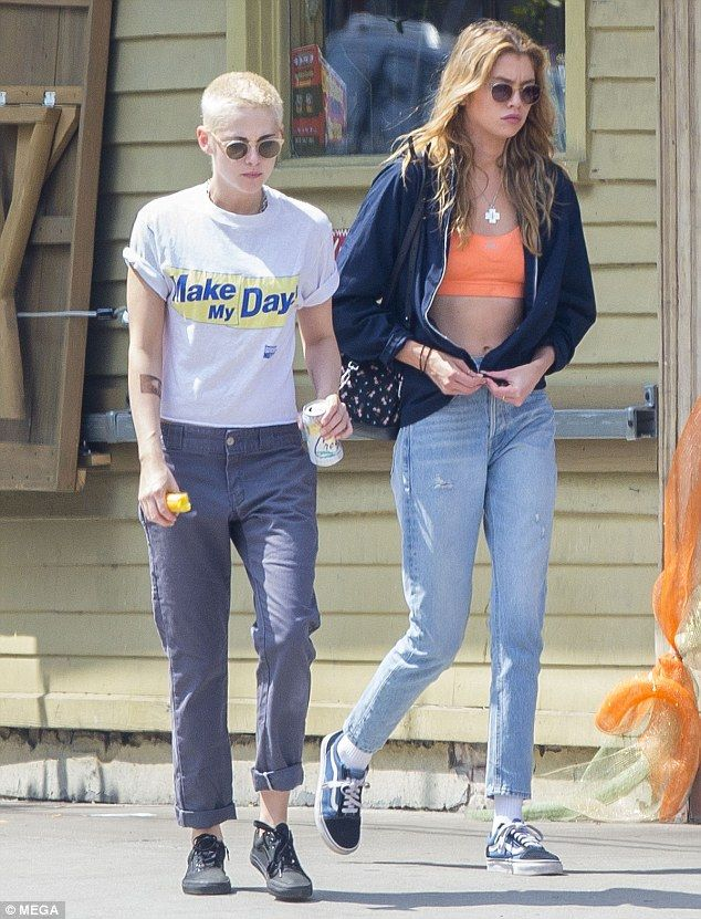 Good looking couple: Kristen Stewart was spotted out with her girlfriend Victoria's Secret...