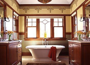 17 best images about remodeled bathrooms on pinterest for Small craftsman bathroom design