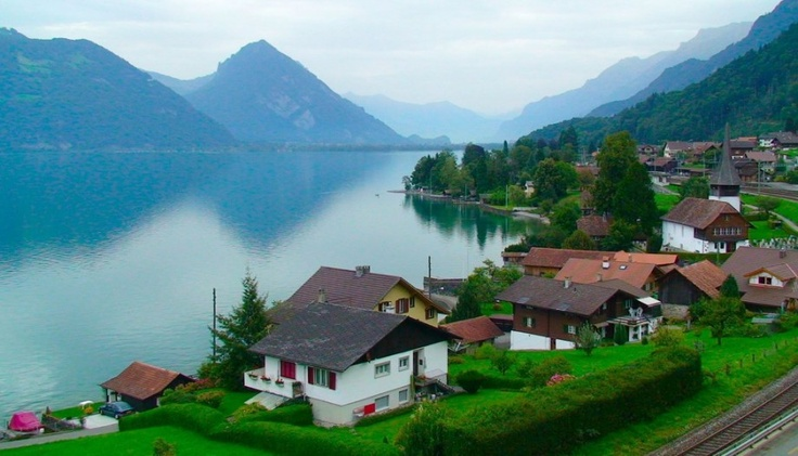 Morning dream | mountains, panorama, lake, Switzerland, houses