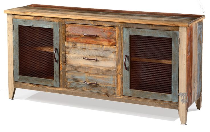 Solid Pine Rustic Buffet Console With Iron Mesh Doors In