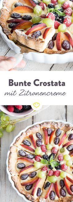 Die Crostata Crema und Obst schließt in sich 2 Grundrezepte der italienischen Konditorei, Mürbeteig und Crema Pasticcera,