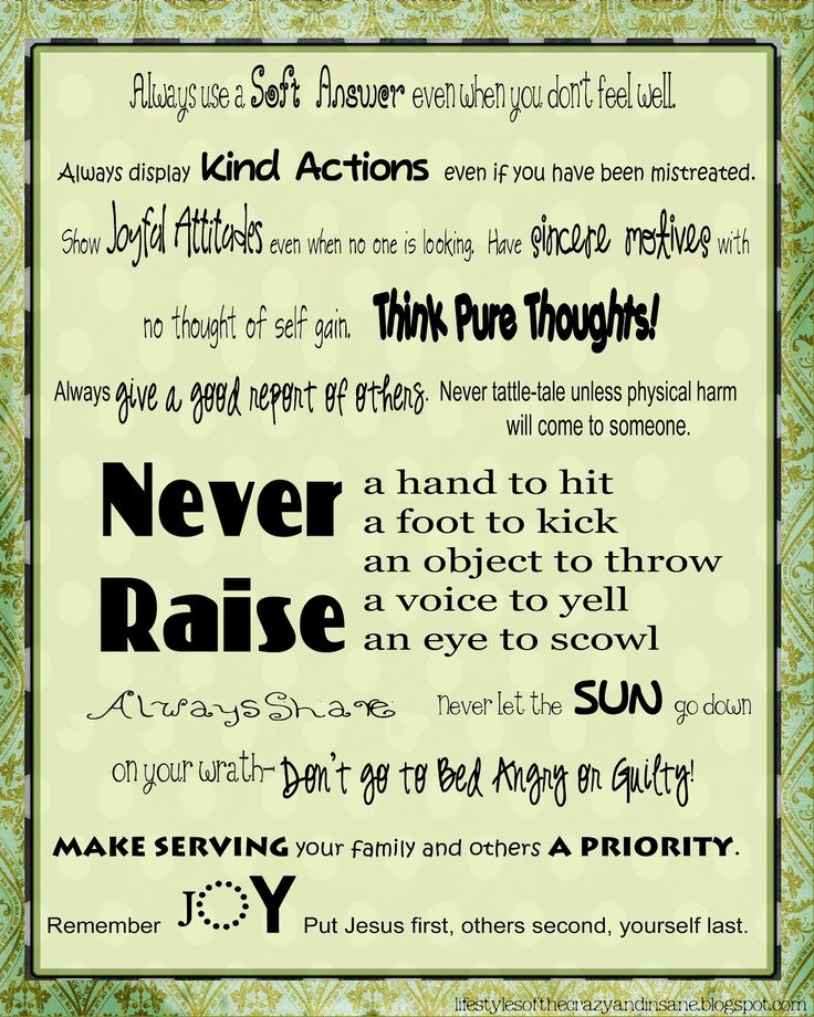 Great post on Positive Parenting plus a Duggar House Rules printable!!