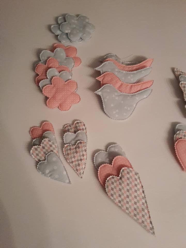 Kleine Herzchen, Vögel, Blumen mit Anhänger für Oster oder Shabby Chic Design