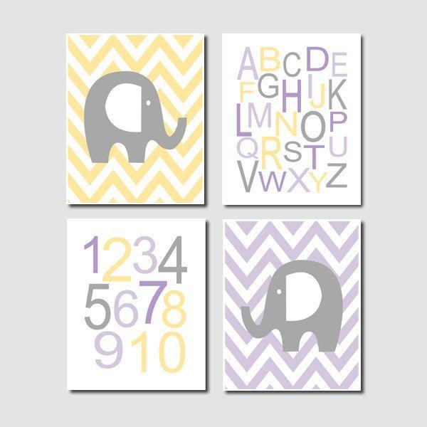 Elephant Nursery Art Chevron Alphabet Numbers by LovelyFaceDesigns, $35.00