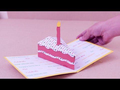 pop-up card【バースデーミニケーキ】birthday mini cake  (quarter) - YouTube