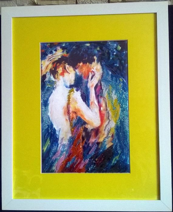 Romantic present seed bead embroidered picture art от LariLaBelle