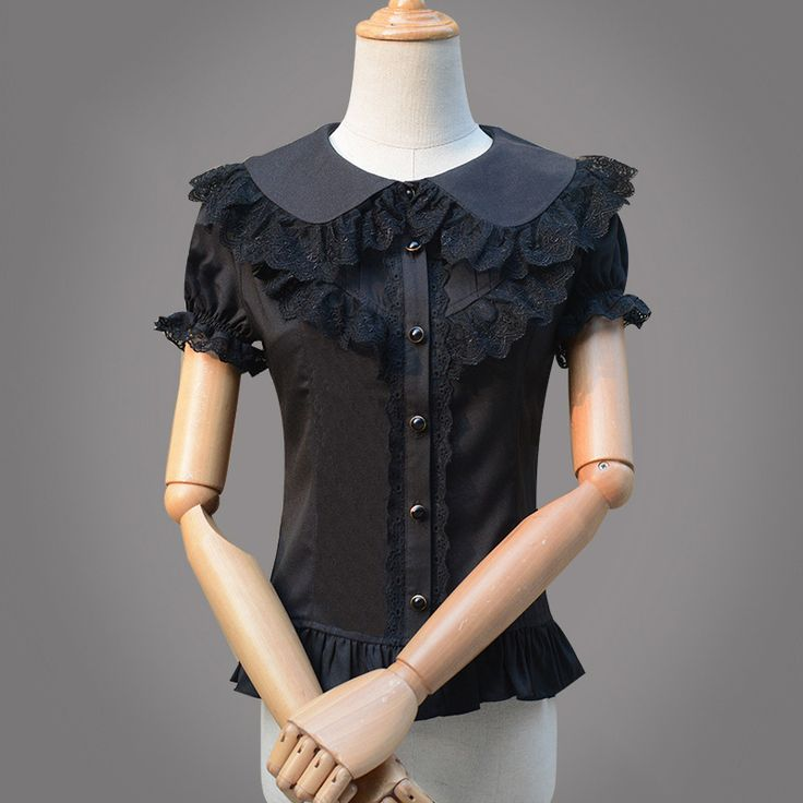 Negro Lolita Victoriana de Manga Corta Blusa de La Gasa de Las Mujeres Camisas Blusas de Encaje Y Camisa Ropa Gótica Blusas de Mujer De Moda 2017(China (Mainland))
