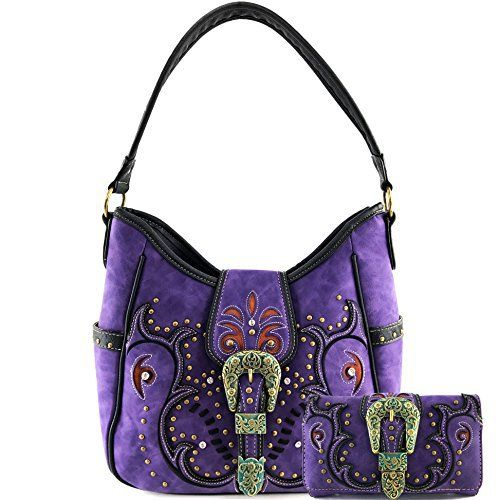 New Trending Purses: Justin West Tooled Laser Cut Leather Floral Embroidery Rhinestone Buckle Studded Shoulder Concealed Carry Tote Style Handbag Purse (Purple Purse and Wallet Set). Justin West Tooled Laser Cut Leather Floral Embroidery Rhinestone Buckle Studded Shoulder Concealed Carry Tote Style Handbag Purse (Purple Purse and Wallet Set)  Special Offer: $48.99  366 Reviews Beautiful Western Tooled Leather Laser Cut Design, Handbag Features: Top Zipper Closu