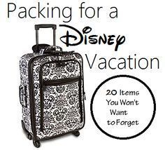 20 Items to Pack for a Disney Vacation - Disney Insider Tips gives you all the information you need to plan the best Walt Disney World Vacation.