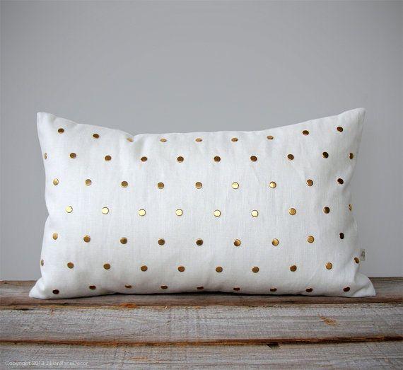 Or cloutés coussins/couverture en lin crème 12 par JillianReneDecor, $130.00