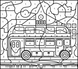 London Bus - Printable Color by Number Page - Hard