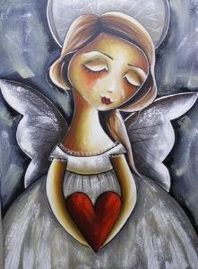 """Angel holding heart"""