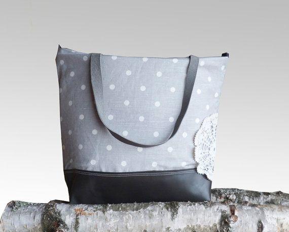 COOL Grey Leather Tote Bag  Light Grey Linen Polka by dawnaparis, €50.00