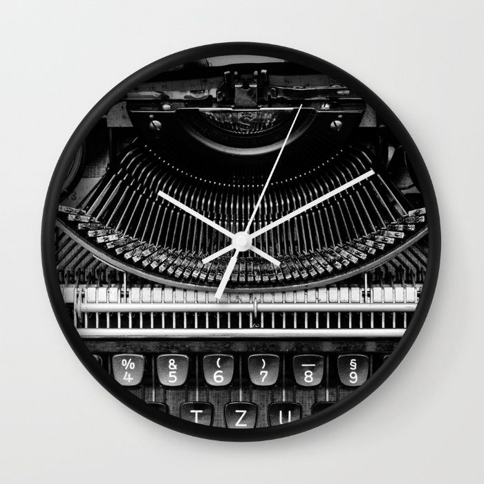 Typewriter Wall Clock by Mixed Imagery | Society6