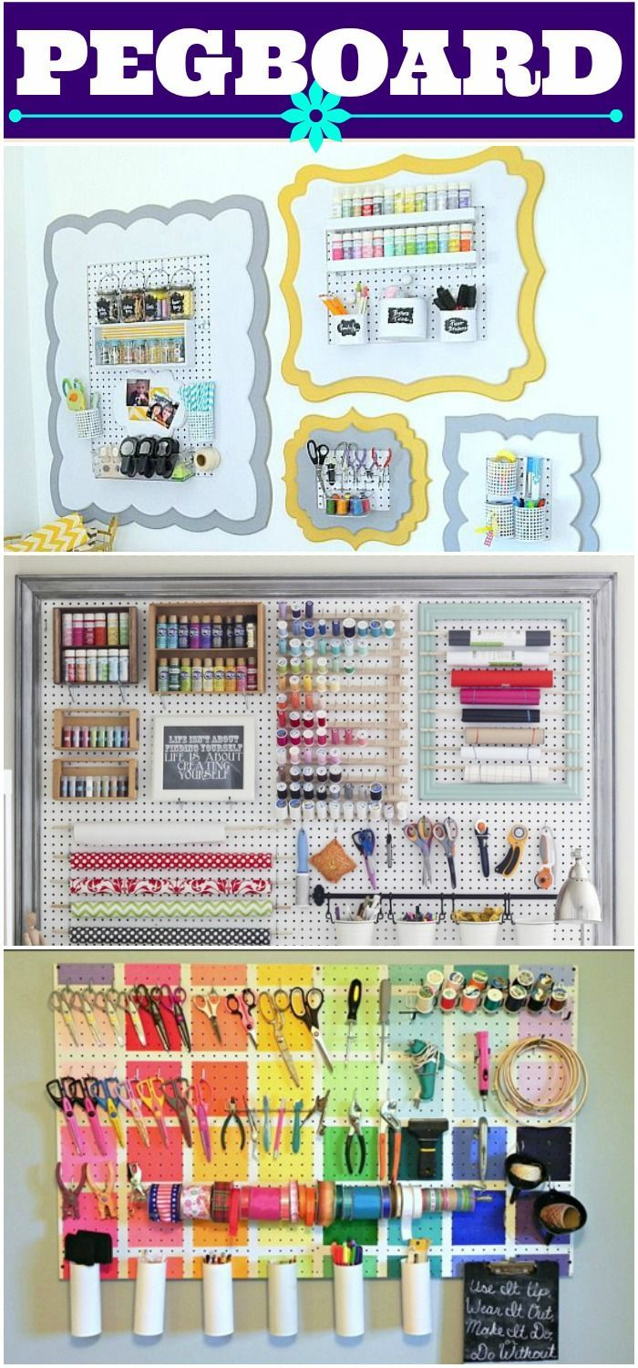 Must paint playroom pegboard like the bottom picture for Craft room pegboard accessories