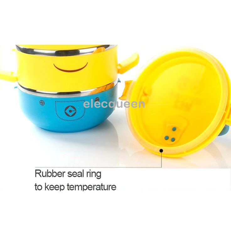 Cute Cartoon Minion stainless steel Lunch Box Thermos For Food Insulation Storage Food Container Dinnerware Set