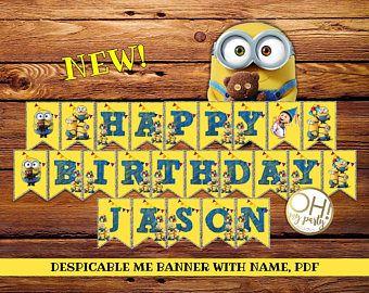 Despreciable me Banner personalizado, despreciable me 3, despicable me, despicable me fiesta, invitación de cumpleaños de minion, partido de súbditos, súbditos